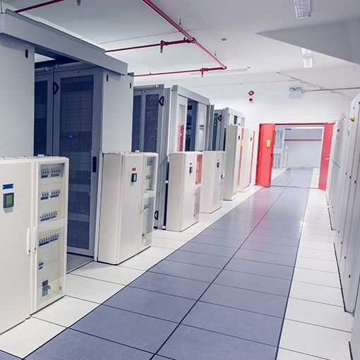 A wide shot of the interior of a data centre