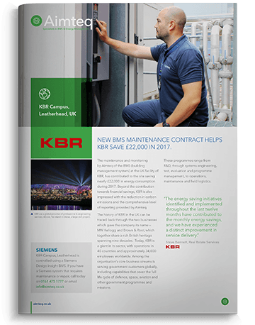 Siemens Deigo Insight BMS Service and maintenance contract at KBR helps them save £22,000 in 2017