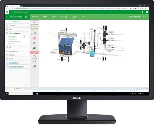Schneider Electric EcoStruxure BMS Page showing boiler controls
